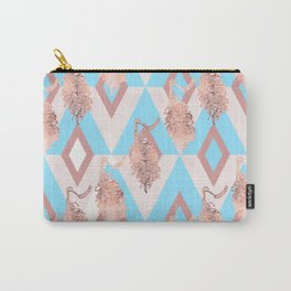 Beautiful Geometric Australian Native Floral Print - Soft pink and blue Carry-All Pouch