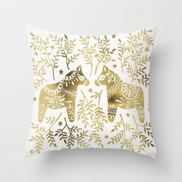 Swedish Dala Horses – Gold Palette Throw Pillow