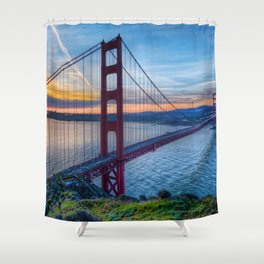 Lovely Oceanside View Of History Charged Golden Gate Bridge San Francisco California Ultra High Res Shower Curtain