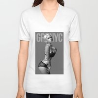 alabama V-neck T-shirts featuring Alabama Deer by GRZNYC