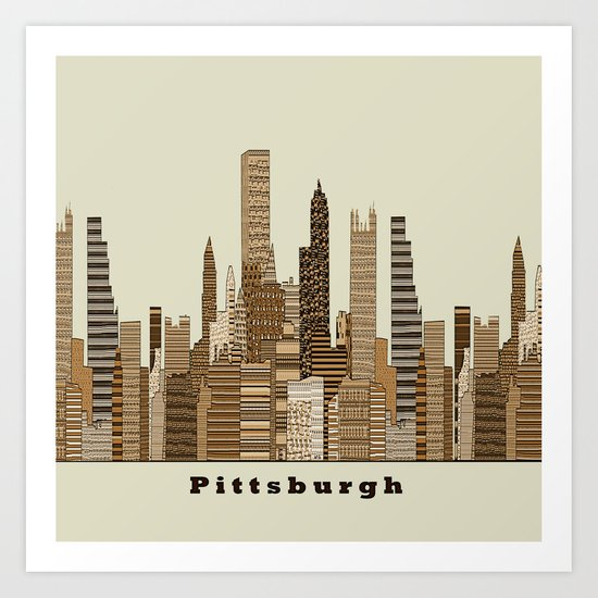 Pittsburgh skyline vintage Art Print