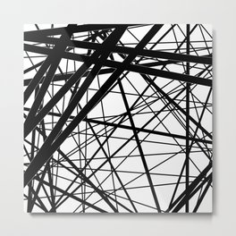 Abstract black and white . Line 2 . Metal Print
