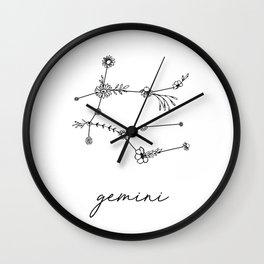 Gemini Floral Zodiac Constellation Wall Clock