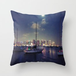 San Diego by Night - Oil Throw Pillow