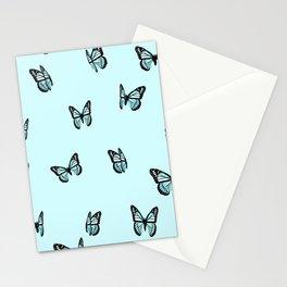Pastel Blue Butterfly Pattern Stationery Cards
