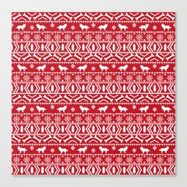Border Collie fair isle christmas red and white holiday sweater dog breed gifts Canvas Print