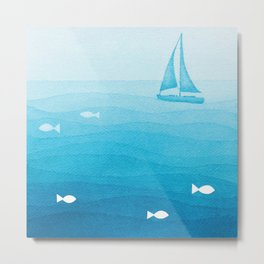sailboat art illustration Metal Print
