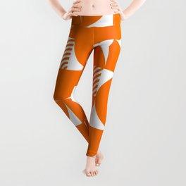 Orange Mid Century Bauhaus Semi Circle Pattern Leggings