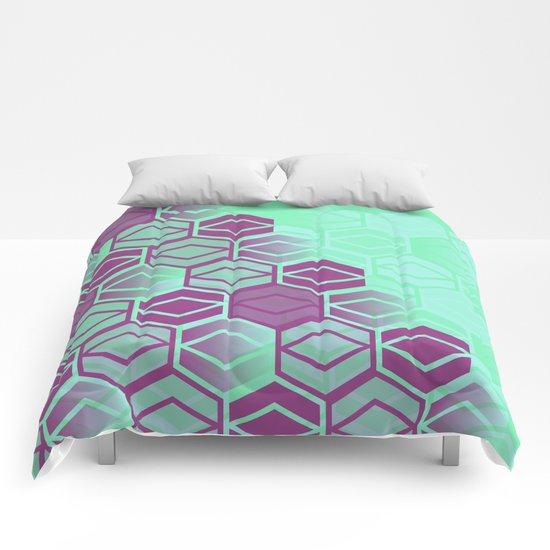 Purple on Mint Comforters