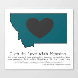 """""""I am in love with Montana"""" - teal Canvas Print"""