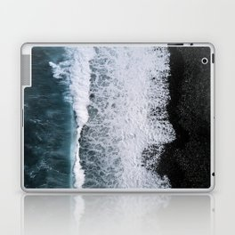 Aerial of a Black Sand Beach with Waves - Oceanscape Laptop & iPad Skin