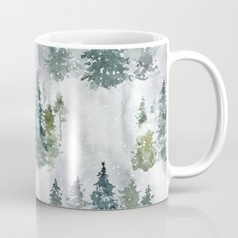Artistic hand painted green white watercolor trees polka dots Coffee Mug