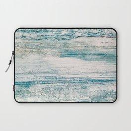 Sea Foam Blue Acrylic Textured Painting Laptop Sleeve