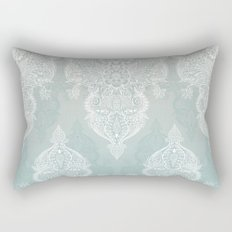 Lace & Shadows - soft sage grey & white Moroccan doodle Rectangular Pillow