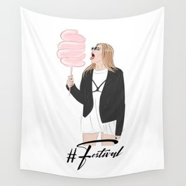 Festival girl cotton candy Wall Tapestry