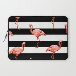 Simply Flamingo Deep Coral on Midnight Black Stripes Laptop Sleeve