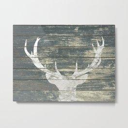 Rustic White Deer Silhouette Teal Wood A311 Metal Print