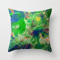 Spring Time Splatter - Abstract blue and green platter painting Throw Pillow