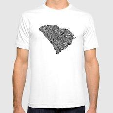 Typographic South Carolina White Mens Fitted Tee MEDIUM