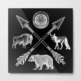 Crossed Arrows Bison Fox And Bear Wildlife Metal Print