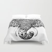 ornate elephant Duvet Covers featuring Ornate Elephant Head by BIOWORKZ