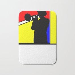 Jazz trombone player silhouette mondrian colors Bath Mat