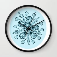 snowflake Wall Clocks featuring Snowflake by Laura Maxwell