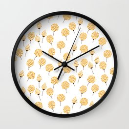 Floral pattern in blue and yellow Wall Clock
