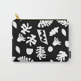 Black and white tropical house plant leaves minimal linocut pattern graphic scandi design Carry-All Pouch