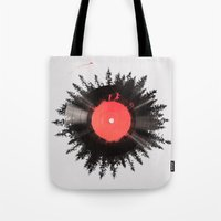 running Tote Bags featuring The vinyl of my life by Robert Farkas
