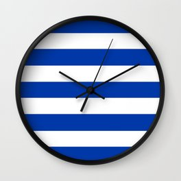 Royal azure - solid color - white stripes pattern Wall Clock