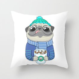 Pug with coffee Throw Pillow