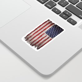 Wood American flag Sticker