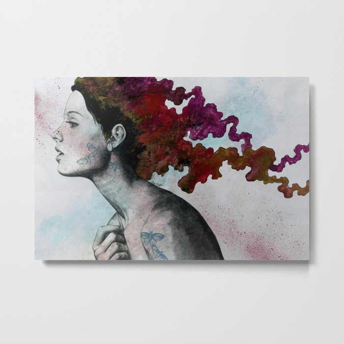 Moral Red Eclipse (colorful hair woman with moths tattoos) Metal Print