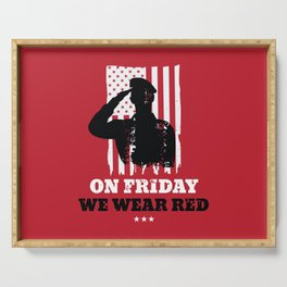 We Wear Red Friday American Flag Military Serving Tray