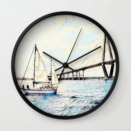 Charleston South Carolina - Sailboat - Arthur Ravenel Jr Bridge Wall Clock
