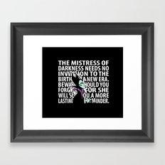 Beware -  white text Framed Art Print