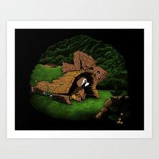 The Tree and the Raccoon Art Print