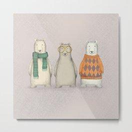 The Three Gentlemen Well-Dressed Bears. Metal Print