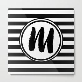 M Striped Monogram Letter Metal Print