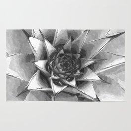 Black and White Cactus Succulent Rug