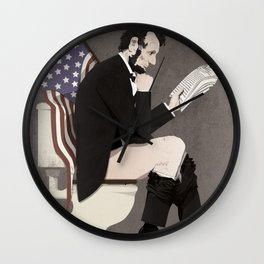 Abraham Lincoln on the toilet Wall Clock