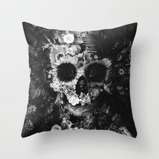 Garden Skull Dark B&W Throw Pillow