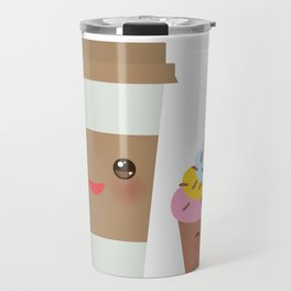 coffee in Paper thermo cup with brown cap and cup holder, chocolate cupcake. Kawaii Travel Mug