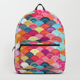 Bright watercolor scallop pattern Backpack