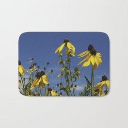 Yellow Coneflower, Ratibida, with azure prairie sky Bath Mat