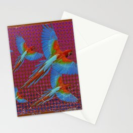 TROPICAL BLUE MACAWS MAROON-BROWN ART Stationery Cards