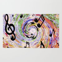 music notes Area & Throw Rugs featuring Music Notes by gretzky