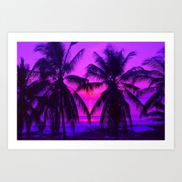 Pink Palm Trees by the Indian Ocean Art Print