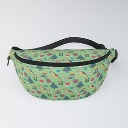 Christmas German Shepherd with Santa Hats and Christmas Trees in Green Fanny Pack